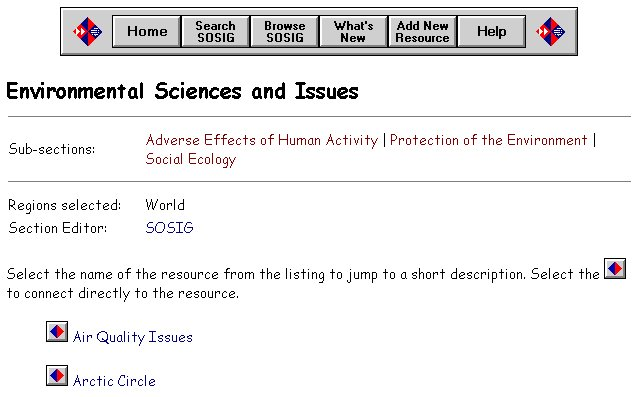 screen capture of Environmental Sciences and Issues, SOSIG