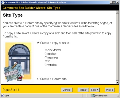 The Commerce Site Builder Wizard allows a basic shop to be created from one of several shop templates