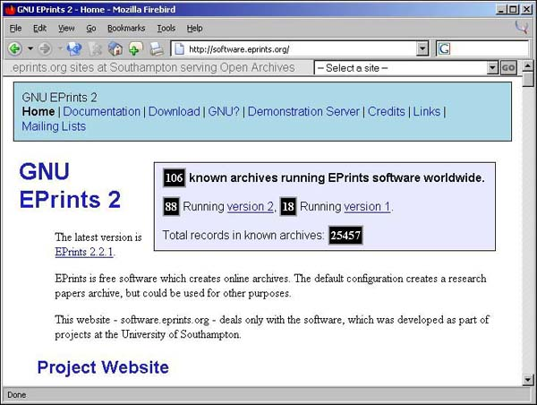Figure 1 screenshot (56KB): software.eprints.org