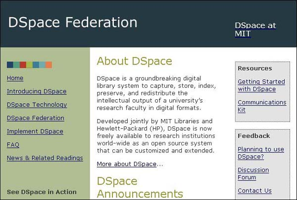 Figure 2 screenshot (50KB): DSpace.org