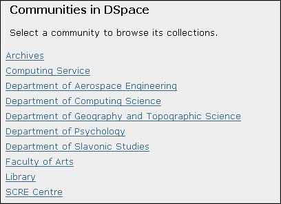 Figure 3 screenshot (26KB): DSpace Communities at Glasgow
