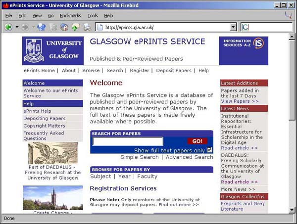 Figure 4 screenshot (70KB): Glasgow EPrints Service