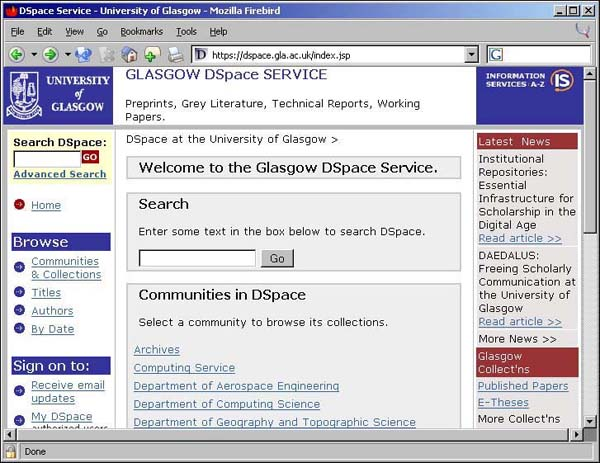 Figure 5 screenshot (66KB): Glasgow DSpace Service