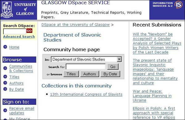 Figure 7 screenshot (57KB): DSpace Community - Department of Slavonic Studies
