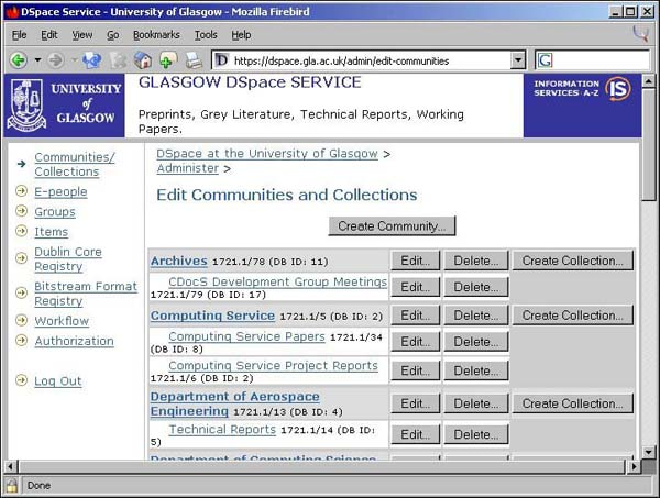 Figure 18: screenshot (63KB): DSpace Administration