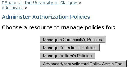 Figure 19: screenshot (25KB): DSpace Policies Tool