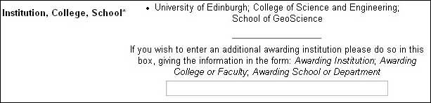 screenshot (15KB) : Figure 4: The Institution, College and School of the submitter