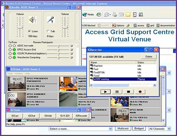 screenshot (57KB): Figure 6: The AGSC Access Grid Recorder (using inSORS IG Recorder)
