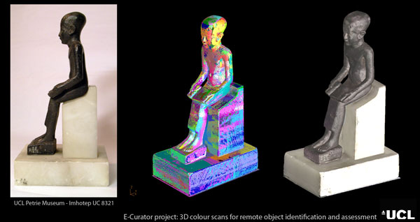 photograh (39KB) : Figure 10: From physical to virtual object: Imhotep bronze statuette (UC8321) of the UCL Petrie Museum of Egyptian Archaeology. Left: Photograph of the object, middle: single scans aligned in false colour mode, right: aligned 3D colour scan.