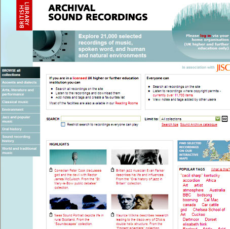 screenshot (75KB) : Figure 1 : Screenshot of the Archival Sound Recordings home page