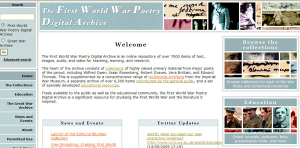 screenshot (64KB) : Figure 2 :S creenshot of the First World War Poetry Digital Archive home page