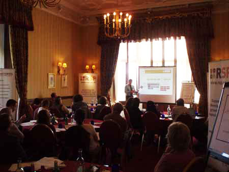 photo (8KB) : Simon Kerridge, University of Sunderland/ARMA speaking on Research Management. Photo courtesy of Dominic Tate©, SHERPA/RSP, University of Nottingham