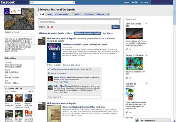screenshot (62KB) : Figure 2 : Facebook page of Biblioteca Nacional de Espa—a