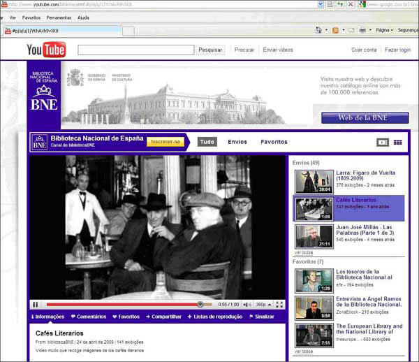 screenshot (79KB) : Figure 5 : YouTube channel of National Library of Spain [deleted]