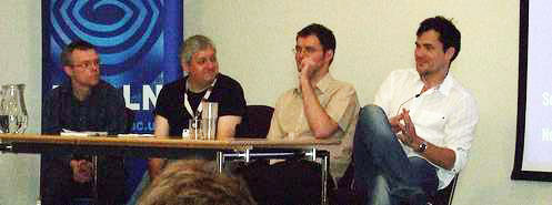 photo (20KB) : Conducting their panel session are: (left to right) James Lappin, Peter Gilbert, Richard Brierton and Josef Lapka